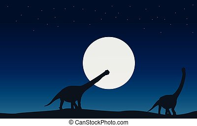 At night argentinosaurus landscape of silhouettes...