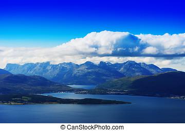 Norway fjord channels landscape background hd
