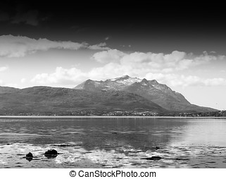 Black and white Norway community landscape background hd