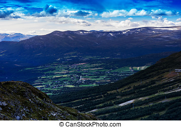 Oppdal mountain valley landscape background hd