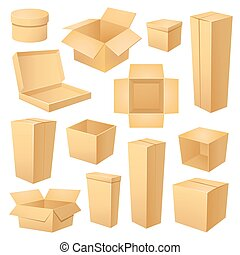 Set of different boxes, vector illustration