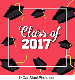 graduation achievement design - card of class 2017 with...