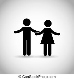 couple with open arms over white background. pictogram...