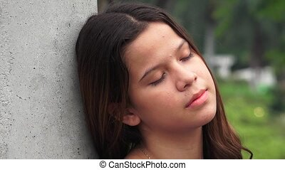 Tired Sleeping Teen Girl Resting