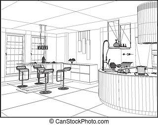 Modern Dining Room Vector