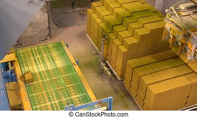 View of ready-made bricks loaded on pallets - Industry. View...