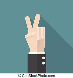 businessman hand show victory sign on blue background