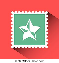 christmas post stamp with decorative star icon over red...