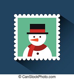 christmas post stamp with decorative snowman icon over...