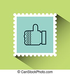 christmas post stamp with decorative hand with good...