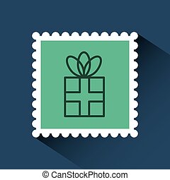 christmas post stamp with decorative gift box icon over blue...