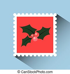 christmas post stamp with decorative holy berry icon over...
