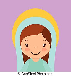 virgin mary icon - cartoon virgin mary smiling. colorful...