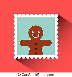 christmas post stamp with decorative ginger cookie icon over...