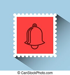 christmas post stamp with decorative bell icon over blue...