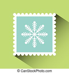 christmas post stamp with decorative snowflake icon over...
