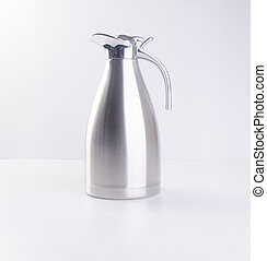 Thermo or Thermo flask from stainless stee on background. -...