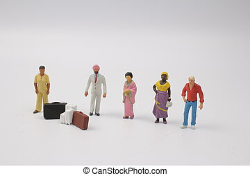Miniature backpacker and tourist people