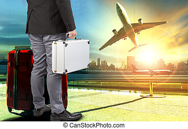 business man and breifcase ,traveling luggage standing in...