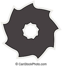 Circular saw blade. Abstract shape / symbol / icon