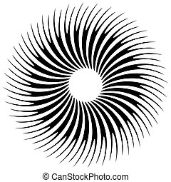 Abstract circular element, radial lines shape. Geometric...
