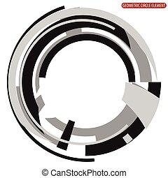 Geometric circle element. Abstract monochrome circle shape.