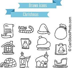 Collection holiday christmas icons set