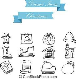 Icon of holiday Christmas set