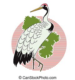 Stock illustration. Japanese grus. - Stock illustration....