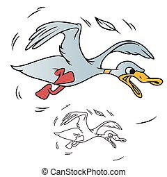 Stock illustration. Clumsy duck - Vector stock illustration....