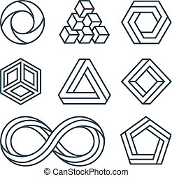 Impossible shapes thin line minimal vector icons set. Linear...