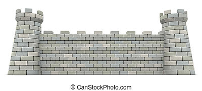 castle wall - 3d illustration of castle wall over white...