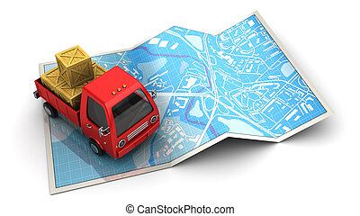 truck location - abstract 3d illustration of cargo location...