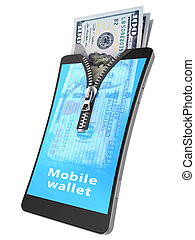 mobile wallet - 3d illustration of mobile phone used as...