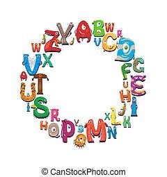 Cartoon alphabet round frame