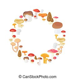 Mushroom round frame isolated on white background. Vector...
