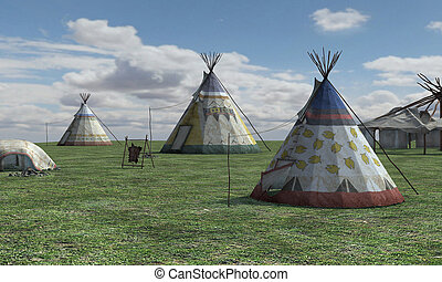 3D Rendering Native American Village - 3D rendering a native...