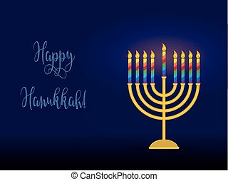 Hanukkah menorah with congratulation, card for jewish...
