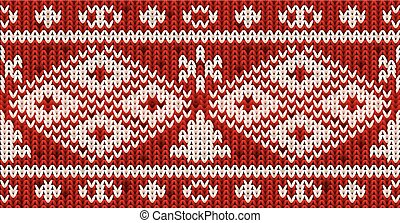 Knitted new year pattern with xmas tree, vector illustration