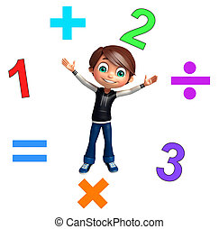 kid boy with math signs and digit