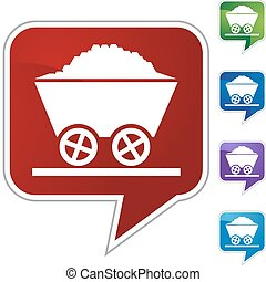 Mining Cart - Mining cart button isolated on a background.