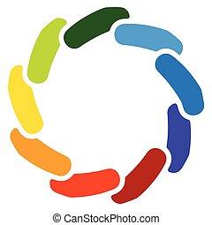 Circular generic symbol, icon - Rotated overlapping bars,...