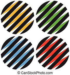 Striped 3d spheres, orbs. Sphere icons, abstract sphere...