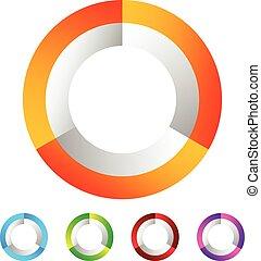 Segmented circle generic abstract icon, circular geometric...