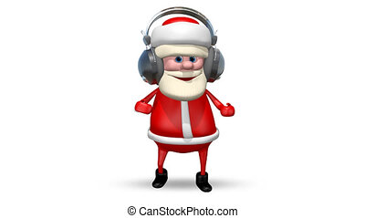 Santa Dancing in Headphones
