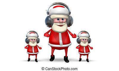 Three Santa Dancing in Headphones