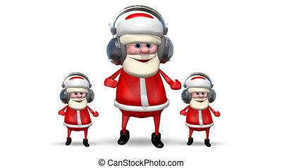 Three Santa Dancing in Headphones