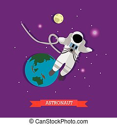 Vector illustration of astronaut in outer space, Earth and Moon