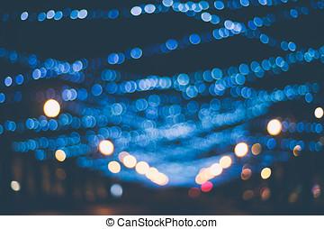 Winter holidays illuminated street in bokeh