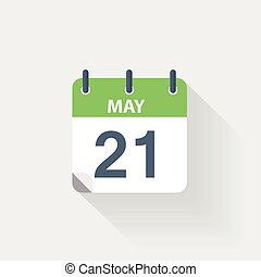 21 may calendar icon on grey background